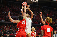 College Park, MD - March 23, 2019: Radford Highlanders center Sydney Nunley (50) blocks Maryland Terrapins forward Shakira Austin (1) shot during game between Radford and Maryland at  Xfinity Center in College Park, MD.  (Photo by Elliott Brown/Media Images International)