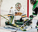 24 October 2015: University of Vermont Catamount Goaltender Mike Santaguida, a Junior from Mississauga, Ontario, makes a third period save against the University of North Dakota at Gutterson Fieldhouse in Burlington, Vermont. North Dakota defeated the Catamounts 5-2 in the second game of their weekend series. Mandatory Credit: Ed Wolfstein Photo *** RAW (NEF) Image File Available ***
