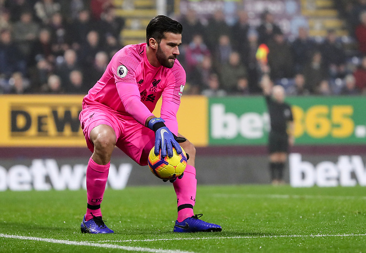 Liverpool's goalkeeper  Alisson Becker <br /> <br /> Photographr Andrew Kearns/CameraSport<br /> <br /> The Premier League - Burnley v Liverpool - Wednesday 5th December 2018 - Turf Moor - Burnley<br /> <br /> World Copyright &copy; 2018 CameraSport. All rights reserved. 43 Linden Ave. Countesthorpe. Leicester. England. LE8 5PG - Tel: +44 (0) 116 277 4147 - admin@camerasport.com - www.camerasport.com