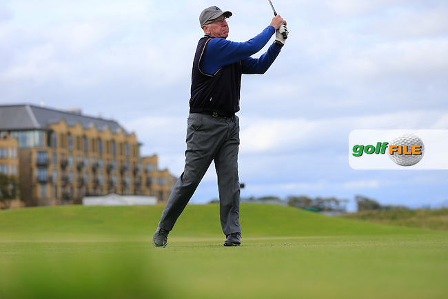 Sir Bobby Charlton (AM) on day one of the Alfred Dunhill links Championship Old Course, St Andrews, Fife, Scotland.<br /> <br /> Picture Fran Caffrey www.golffile.ie