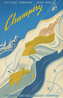BNPS.co.uk (01202 558833)<br /> Pic: Lyon&Turnbull/BNPS<br /> <br /> Pictured: Champery from 1955 priced sold for £9375<br /> <br /> A stunning set of vintage ski posters depicting the halcyon days of European winter holidays have sold for over £116,000.<br /> <br /> They featured early lithograph prints of advertising posters for glamorous resorts including Champery and Gstaad.<br /> <br /> The earliest posters in the sale dated from the turn of the 20th century, with the most recent examples from the 1960s.<br /> <br /> As transport links improved in the 1920s and '30s, skiing holidays grew in popularity.