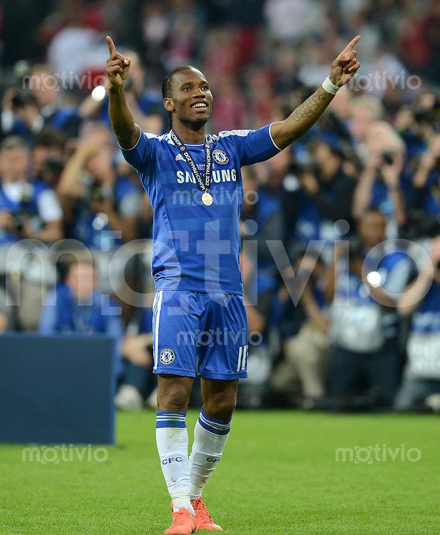 FUSSBALL   SAISON 2011/2012   CHAMPIONS LEAGUE FINALE FC Bayern Muenchen - FC Chelsea  19.05.2012 JUBEL Matchwinner Didier Drogba (FC Chelsea)