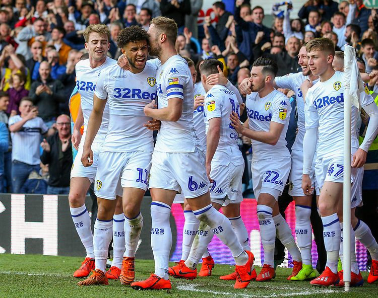 Leeds United's Pablo Hernandez celebrates scoring the winning goal - his side's third with teammates<br /> <br /> Photographer Alex Dodd/CameraSport<br /> <br /> The EFL Sky Bet Championship - Leeds United v Millwall - Saturday 30th March 2019 - Elland Road - Leeds<br /> <br /> World Copyright © 2019 CameraSport. All rights reserved. 43 Linden Ave. Countesthorpe. Leicester. England. LE8 5PG - Tel: +44 (0) 116 277 4147 - admin@camerasport.com - www.camerasport.com
