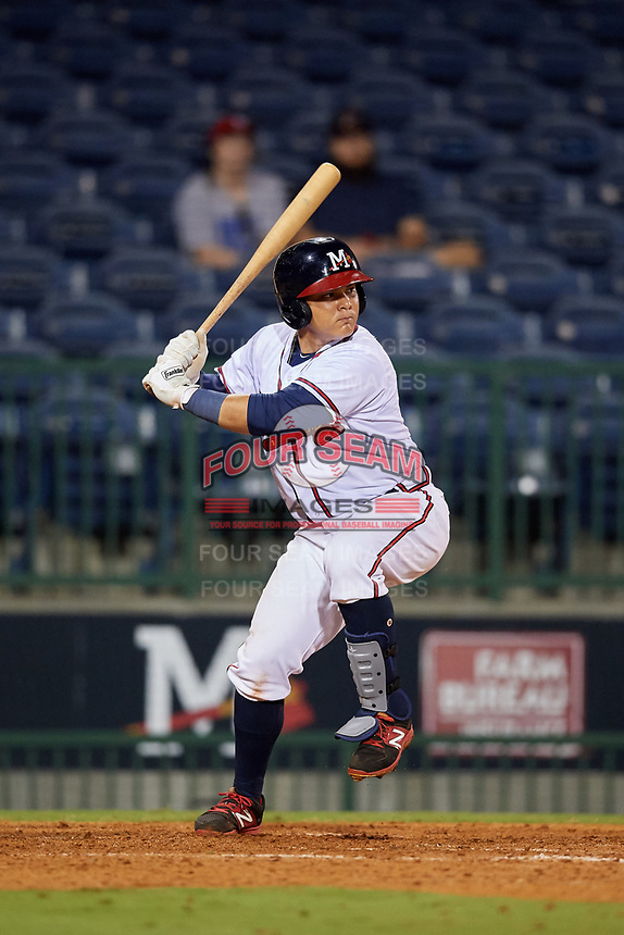 Mississippi Braves first baseman Jonathan Morales (9) at bat during a game against the Mobile BayBears on May 7, 2018 at Trustmark park in Pearl, Mississippi.  Mobile defeated Mississippi 5-0.  (Mike Janes/Four Seam Images)