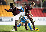 St Johnstone v Hearts&hellip;23.12.17&hellip;  McDiarmid Park&hellip;  SPFL<br />David Wotherspoon fends off Prince Buaben and Christophe Berra<br />Picture by Graeme Hart. <br />Copyright Perthshire Picture Agency<br />Tel: 01738 623350  Mobile: 07990 594431