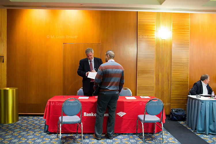 Military veterans meet with employers at the Recovering Warrior Employment Conference at the Back Bay Event Center in Boston, Massachusetts, USA. The employment conference was organized by Hiring Our Heroes and Wounded Warrior Project. Hiring Our Heroes is an initiative of the US Chamber of Commerce Foundation. Approximately 40 veterans registered for the event, during which they had interviews with a number of different regional and national employers, including GE, Bank of America, Uber, and others.