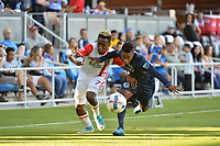 San Jose, CA - Saturday June 17, 2017: Cordell Cato, Latif Blessing during a Major League Soccer (MLS) match between the San Jose Earthquakes and the Sporting Kansas City at Avaya Stadium.