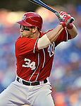 19 September 2012: Washington Nationals rookie outfielder Bryce Harper at bat against the Los Angeles Dodgers at Nationals Park in Washington, DC. The Nationals defeated the Dodgers 3-1 in the first game of their double-header. Mandatory Credit: Ed Wolfstein Photo