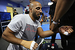 Egyptian boxing champion Hisham Hiba getting hamds dressed before fight in Blue corner locker room<br /><br />MMA. Mixed Martial Arts &quot;Tigers of Asia&quot; cage fighting competition. Top professional male and female fighters from across Asia, Russia, Australia, Malaysia, Japan and the Philippines come together to fight. This tournament takes place in front of a ten thousand strong crowd of supporters in Pelaing Stadium. Kuala Lumpur, Malaysia. October 2015