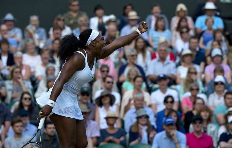 Serena Williams (USA) [1] in action during her victory over Victoria Azarenka (BLR) in their Ladies' Singles Quarter Final match today - Serena Williams (USA) [1]def Victoria Azarenka (BLR) [23] 3-6 6-2 6-3<br /> <br /> Photographer Stephen White/CameraSport<br /> <br /> Tennis - Wimbledon Lawn Tennis Championships - Day 8 - Tuesday 7th July 2015 -  All England Lawn Tennis and Croquet Club - Wimbledon - London - England<br /> <br /> &copy; CameraSport - 43 Linden Ave. Countesthorpe. Leicester. England. LE8 5PG - Tel: +44 (0) 116 277 4147 - admin@camerasport.com - www.camerasport.com.
