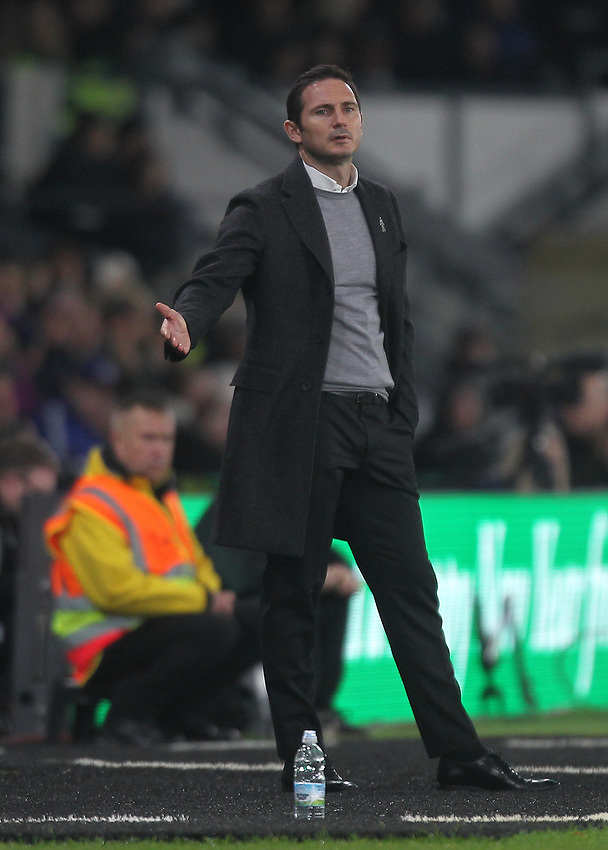 Derby County's Manager Frank Lampard <br /> <br /> Photographer Mick Walker/CameraSport<br /> <br /> The EFL Sky Bet Championship - Derby County v Nottingham Forest - Monday 17th December 2018 - Pride Park - Derby<br /> <br /> World Copyright © 2018 CameraSport. All rights reserved. 43 Linden Ave. Countesthorpe. Leicester. England. LE8 5PG - Tel: +44 (0) 116 277 4147 - admin@camerasport.com - www.camerasport.com