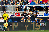 Sheanon Williams (25) of the Philadelphia Union. The Philadelphia Union and the Seattle Sounders played to a 2-2 tie during a Major League Soccer (MLS) match at PPL Park in Chester, PA, on May 4, 2013.