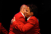 Hall of Fame inductee Earnie Stewart (L) hugs Hall of Fame inductee Cobi Jones (R) during the 2011 National Soccer Hall of Fame induction ceremony in Foxborough, MA, on June 04, 2011.