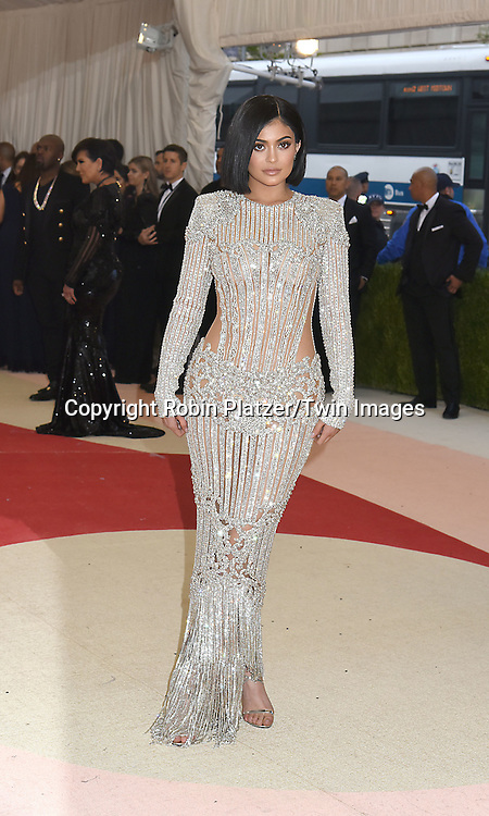 Kylie Jenner attends the Metropolitan Museum of Art Costume Institute Benefit Gala on May 2, 2016 in New York, New York, USA. The show is Manus x Machina: Fashion in an Age of Technology. <br /> <br /> photo by Robin Platzer/Twin Images<br />  <br /> phone number 212-935-0770