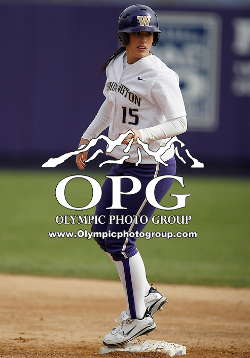 14 March 2010:  Washington Huskies all american pitcher Danielle Lawrie advances to second against Seattle University. Washington defeated Seattle University 8-3 at Husky Softball Stadium in Seattle, WA.