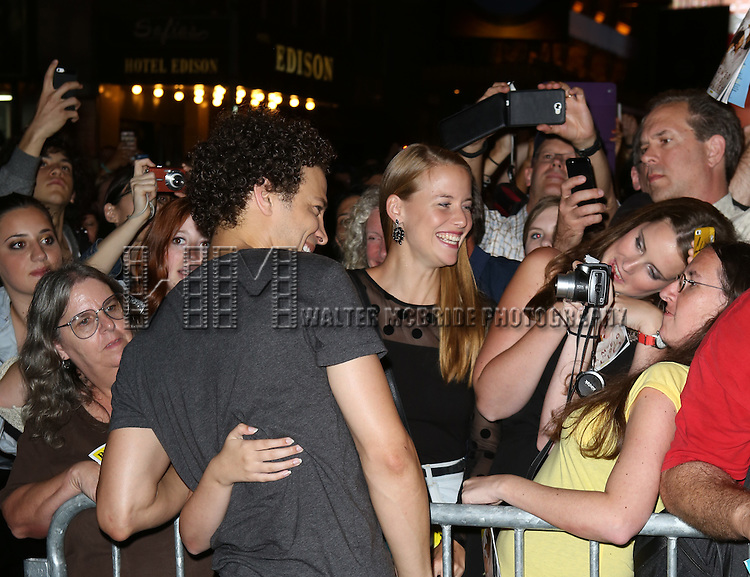 """Justin Guarini greeting fans at the stage door the after the First Performance of """"Romeo And Juliet"""" On Broadway at the Richard Rodgers Theatre in New York City on 8/24/2013"""