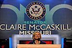 Senator Claire McCaskill of Missouri speaks at the Democratic National Convention at the Pepsi Center in Denver, Colorado on August 25, 2008.