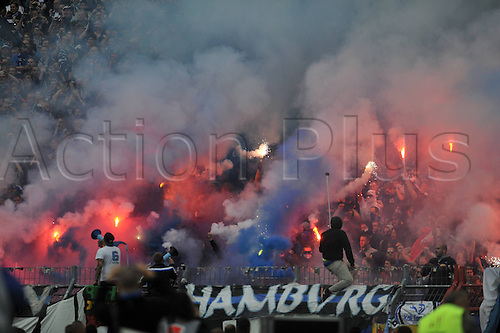 01.06.2015. Karlsruhe, Germany. Bundesliga Relegation Playoff final second leg. Karlsruhe versus Hamburg. Hamburg fans light flares