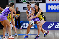 Stars' Temepara Bailey and Pulse' Karin Burger in action during the ANZ Premiership - Pulse v Stars at Te Rauparaha Arena, Porirua, New Zealand on Wednesday 3 April 2019. <br /> Photo by Masanori Udagawa. <br /> www.photowellington.photoshelter.com