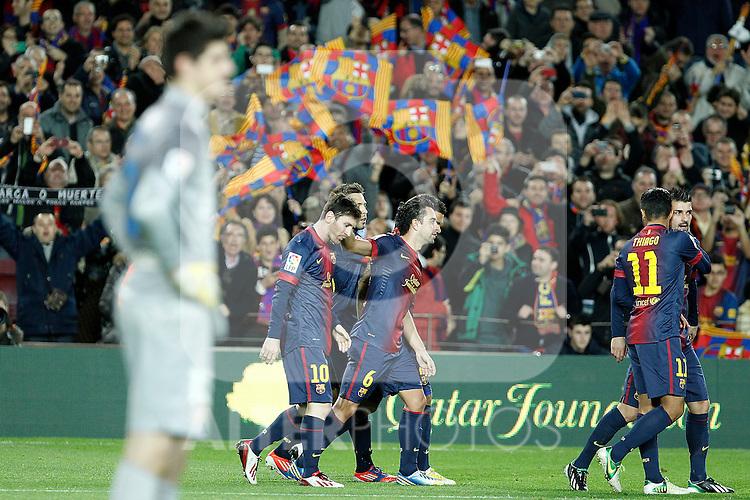 FC Barcelona's Leo Messi, Jordi Alba, Xavi Hernandez, Daniel Alves, Thiago Alcantara and David Villa celebrate goal in presence of Atletico de Madrid's Thibaut Courtois during La Liga match.December 16,2012. (ALTERPHOTOS/Acero)