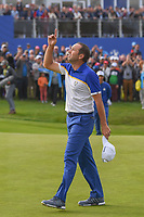 Sergio Garcia (Team Europe) celebrates winning the hole and his match on 17 following Sunday's singles of the 2018 Ryder Cup, Le Golf National, Guyancourt, France. 9/30/2018.<br /> Picture: Golffile | Ken Murray<br /> <br /> <br /> All photo usage must carry mandatory copyright credit (© Golffile | Ken Murray)