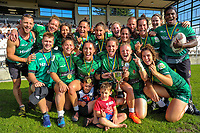 The Manawatu Women celebrate winning the cup final. Day two of the 2018 Bayleys National Sevens at Rotorua International Stadium in Rotorua, New Zealand on Sunday, 14 January 2018. Photo: Dave Lintott / lintottphoto.co.nz
