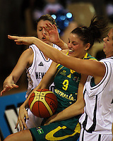 Opals' Hollie Grima takes the ball under pressure during the International women's basketball match between NZ Tall Ferns and Australian Opals at Te Rauparaha Stadium, Porirua, Wellington, New Zealand on Monday 31 August 2009. Photo: Dave Lintott / lintottphoto.co.nz