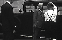 BNPS.co.uk (01202 558833)<br /> Pic: Mullocks/BNPS<br /> <br /> A remarkable film of David Lloyd George's visit to Germany to meet Adolf Hitler in 1936 after which he described him as 'the greatest living German' has emerged for auction.<br /> <br /> The unique black and white 16mm film which lasts 20 minutes shows former Prime Minister Lloyd George and his entourage twice meeting Hitler and driving along newly created autobahns.<br /> <br /> The grainy footage captures Lloyd George with Hitler at a dinner party, him laying a wreath at a war memorial in Munich and the alarming sight of the Nazi and United Kingdom flags hanging together on a German building.<br /> <br /> The film belongs to a British historian with a large collection of archive footage and is tipped to sell for &pound;1,200.