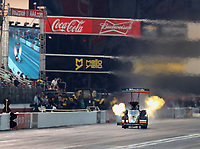 Nov 10, 2018; Pomona, CA, USA; NHRA top fuel driver Mike Salinas during qualifying for the Auto Club Finals at Auto Club Raceway. Mandatory Credit: Mark J. Rebilas-USA TODAY Sports