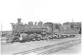 3/4 front fireman side view of K-36 #486 in Alamosa yard.<br /> D&amp;RGW  Alamosa, CO  7/4/1938