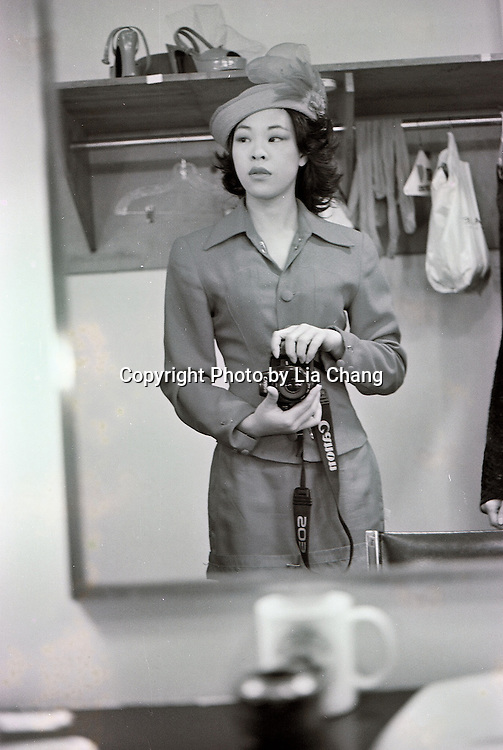 Signature Theatre Company production of Sam Shepard's Chicago at The Public Theatre in December 2000.  Lia Chang in the dressing room.  Photo courtesy of Lia Chang Archive