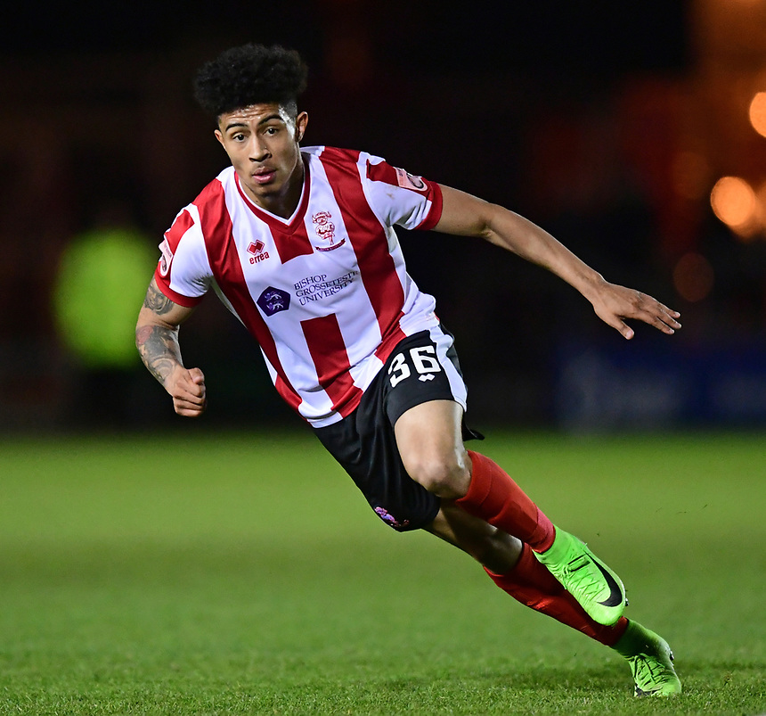 Lincoln City's Josh Ginnelly<br /> <br /> Photographer Chris Vaughan/CameraSport<br /> <br /> Vanarama National League - Lincoln City v Chester - Tuesday 11th April 2017 - Sincil Bank - Lincoln<br /> <br /> World Copyright &copy; 2017 CameraSport. All rights reserved. 43 Linden Ave. Countesthorpe. Leicester. England. LE8 5PG - Tel: +44 (0) 116 277 4147 - admin@camerasport.com - www.camerasport.com