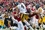 Wisconsin Badgers linebacker Andrew Van Ginkel (17) and defensive lineman Conor Sheehy (94) sack Iowa Hawkeyes quarterback Nate Stanley (4) during an NCAA College Big Ten Conference football game Saturday, November 11, 2017, in Madison, Wis. The Badgers won 38-14. (Photo by David Stluka)