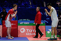 14th March 2020, Arena Birmingham, Birmingham, UK; Denmarks Anders Antonsen L retires injured during the mens singles semifinal match with Chinese Taipeis Chou Tien Chen R at All England Badminton 2020 in Birmingham