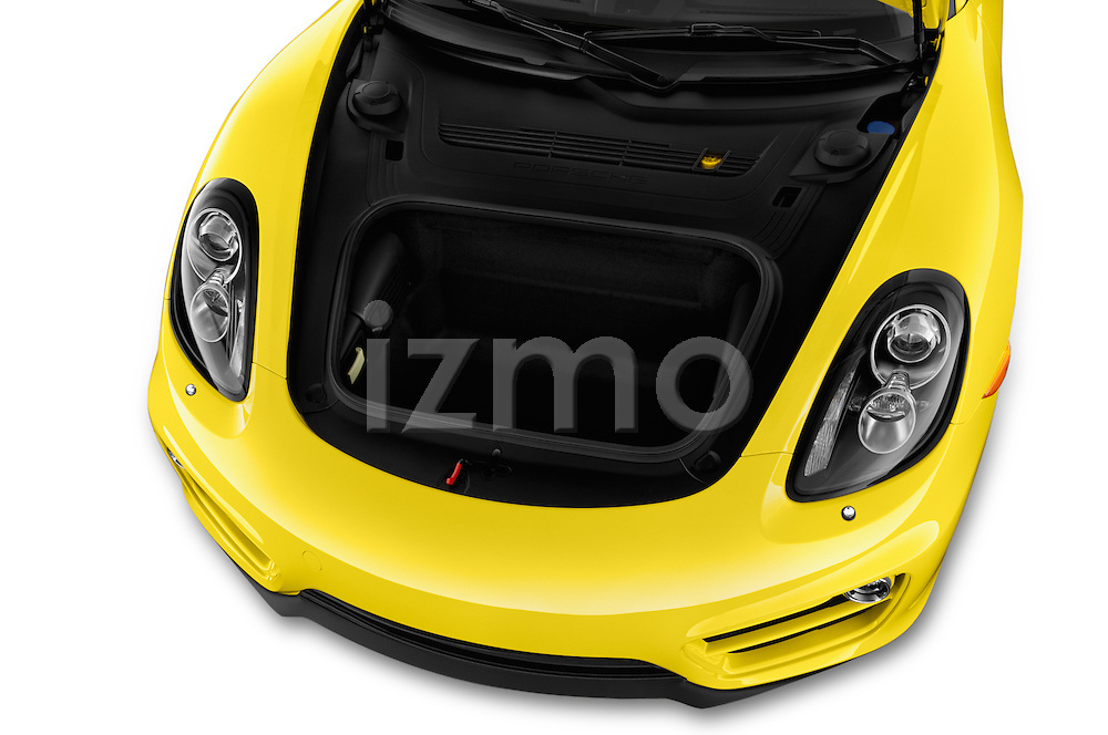 Car Stock 2016 Porsche Cayman 3 Door Coupe Engine high angle detail view