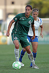 01 Aug 2009: Niki Cross (19) of Saint Louis Athletica looks upfield as Nancy Augustyniak Goffi (25) of the Breakers applies pressure.  Saint Louis Athletica defeated the visiting Boston Breakers 1-0 in a regular season Women's Professional Soccer game at Anheuser-Busch Soccer Park, in Fenton, MO.