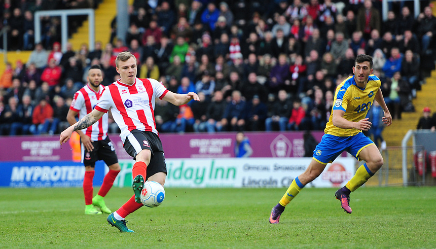 Lincoln City's Harry Anderson scores his sides equalising goal to make the score 1-1<br /> <br /> Photographer Chris Vaughan/CameraSport<br /> <br /> Vanarama National League - Lincoln City v Torquay United - Friday 14th April 2016  - Sincil Bank - Lincoln<br /> <br /> World Copyright &copy; 2017 CameraSport. All rights reserved. 43 Linden Ave. Countesthorpe. Leicester. England. LE8 5PG - Tel: +44 (0) 116 277 4147 - admin@camerasport.com - www.camerasport.com