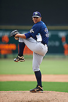 GCL Rays pitcher Edrick Agosto (33) delivers a pitch during the second game of a doubleheader against the GCL Orioles on August 1, 2015 at the Ed Smith Stadium in Sarasota, Florida.  GCL Orioles defeated the GCL Rays 11-4.  (Mike Janes/Four Seam Images)