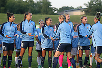 Piscataway, NJ - Saturday Aug. 27, 2016: Sky Blue starters, Raquel Rodriguez, Erica Skroski, Taylor Lytle, Kristin Grubka, Tasha Kai prior to a regular season National Women's Soccer League (NWSL) match between Sky Blue FC and the Chicago Red Stars at Yurcak Field.