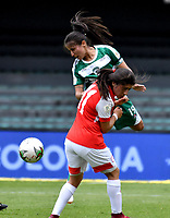 BOGOTÁ-COLOMBIA, 11–08-2019: Lucero Robayo de Independiente Santa Fe y Anyie Olarte de La Equidad disputan el balón, durante partido de la fecha 5 entre Independiente Santa Fe y La Equidad, por la Liga Águila Femenina, jugado en el estadio Nemesio Camacho El Campín de la ciudad de Bogotá. / Lucero Robayo of Independiente Santa Fe and Anyie Olarte of La Equidad vies for the ball, during a match of the 5th date between Independiente Santa Fe and La Equidad, for the 2019 Women's Aguila League played at the Nemesio Camacho El Campin Stadium in Bogota city, Photo: VizzorImage / Luis Ramírez / Staff.