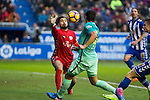 Club Deportivo Alaves'es goalkeeper Fernando Pacheco competes for the ball with FC Barcelona's forward Luis Suarez  during the match of La Liga between Deportivo Alaves and Futbol Club Barcelona at Mendizorroza Stadium in Vitoria, Spain. February 11, 2017. (ALTERPHOTOS/Rodrigo Jimenez)