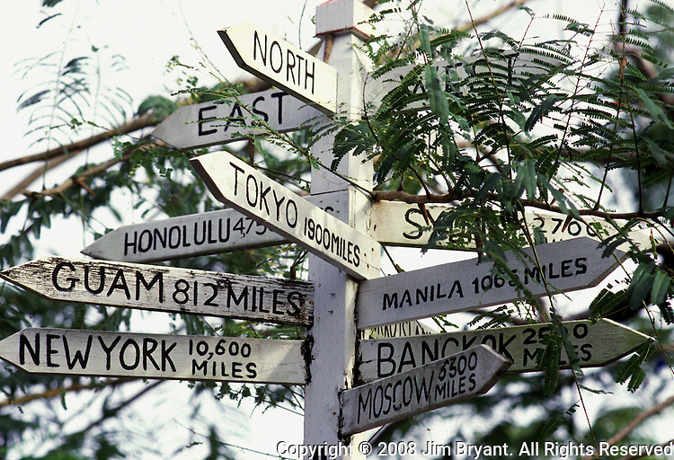 A signpost near the Nikko Resort Hotel gives a visitor location and mileage to their home country. The island republic of Palau has been everything from a Japanese military base to a U.S. Trust territory it now seeks profitable indignity as a plush Pacific resort..The Republic of Belau lies 1,300 kilometers, southwest of Guam, and 600 kilometers east of the Philippines. (Jim Bryant Photo)......