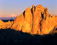 Smith Rock framing Mt Jefferson at sunrise in Central Oregon