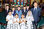 Pupils from Coolick NS who received their First Holy Communion in Our Lady of lourdes church Kilcummin on  Sunday Aideen Fleming, Kate O'Rahilly, Kim O'Doherty, Holly Carey. Back row: Jack Teahan Jack Ahern Zach Cronin Rory O'Connor, William Fogarty, Danny Murphy teacher