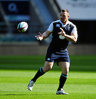 Cian Healy of Ireland receives the ball. Ireland Captain's Run on February 26, 2016 at Twickenham Stadium in London, England. Photo by: Patrick Khachfe / Onside Images