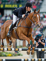 PARKER, ridden by James Alliston (GBR), competes during Stadium Jumping at the Rolex 3-Day Event at the Kentucky Horse Park in Lexington, Kentucky on April 28, 2013.