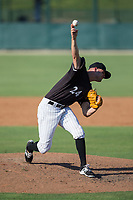 Kannapolis Intimidators relief pitcher Mike Morrison (24) delivers a pitch to the plate against the Hagerstown Suns at Kannapolis Intimidators Stadium on June 15, 2017 in Kannapolis, North Carolina.  The Intimidators walked-off the Suns 5-4 in game one of a double-header.  (Brian Westerholt/Four Seam Images)