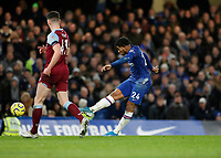 30th November 2019; Stamford Bridge, London, England; English Premier League Football, Chelsea versus West Ham United; Reece James of Chelsea taking a shot - Strictly Editorial Use Only. No use with unauthorized audio, video, data, fixture lists, club/league logos or 'live' services. Online in-match use limited to 120 images, no video emulation. No use in betting, games or single club/league/player publications