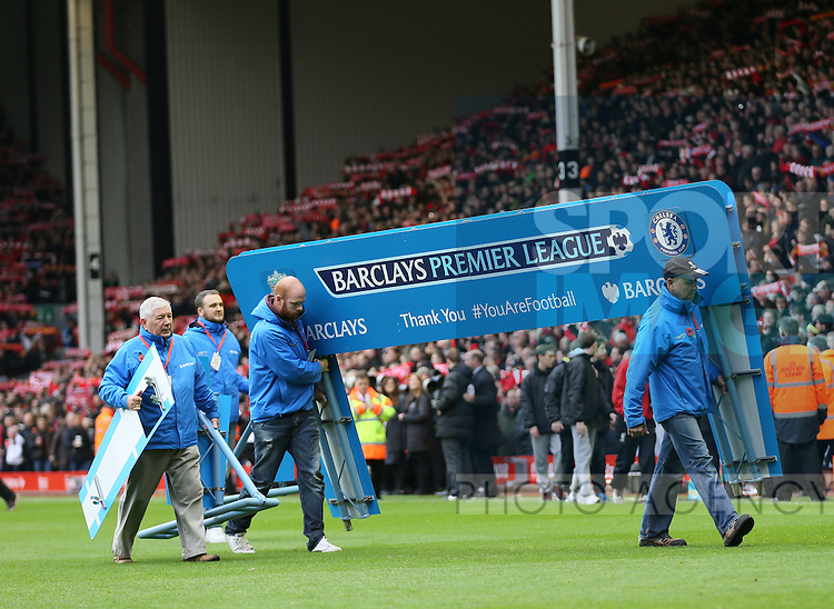 Barclays Premeir League signage is carried off the pitch  - Barclays Premier League - Liverpool vs Chelsea - Anfield Stadium - Liverpool - England - 8th November 2014  - Picture Simon Bellis/Sportimage