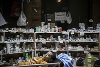 In this Thursday, Aug. 08, 2013 photo, a child is seen sleeping at the pharmacy of the field hospital in the sit-in of the Cairo University at Giza district. (Photo/Narciso Contreras).